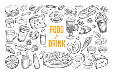 Food and Drink vector big set. Isolated objects in sketch style.