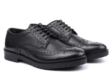 Black brogues. Isolated on a white background.