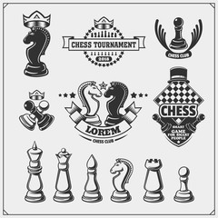 Set of labels, emblems, icons and signs for chess tournament. Vector illustration.