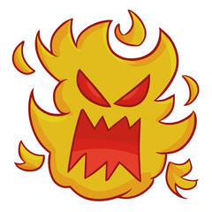 Funny and scary fire monster - vector.