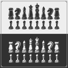 Set of chess icons. Vector Illustration.