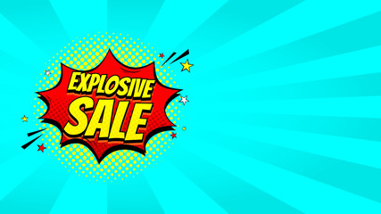 Pop art sale discount promotion web banner. Decorative blue background with explosive speech bubbles. Vector illustration with advertizing offer.