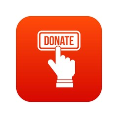 Hand presses button to donate icon digital red