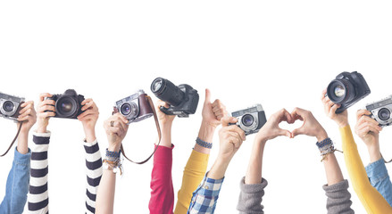 Different color hands holding  Cameras Wall mural