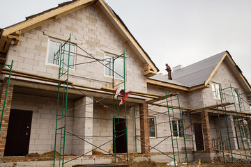 unfinished townhouse in the summer