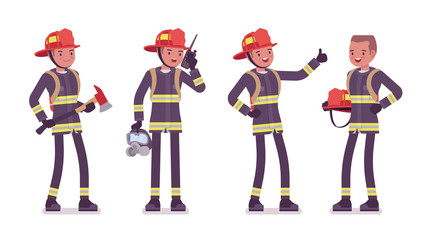 Young male firefighter standing