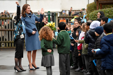 Britain's Catherine, The Duchess of Cambridge, visits Roe Green Junior School, Brent, London