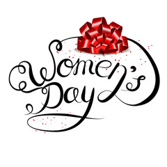 Vector lettering hand drawn on a white background. International Women s Day on March 8.