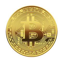 One Golden Bitcoin on white background. Concept cryptocurrency in financial world. Banking business. Vector illustration