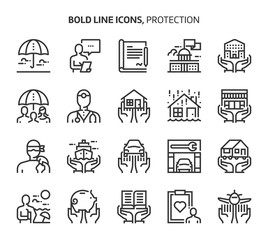 Protection, bold line icons.