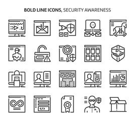 Security, bold line icons.