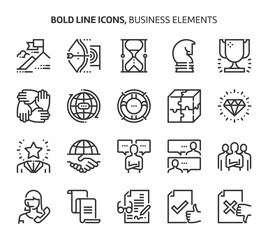 Business elements, bold line icons.