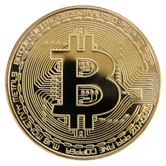 Coin Golden Bitcoin isolated on white background.