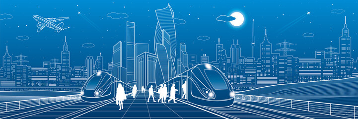 Trains ride on railroad. Passengers at station. Transport panorama. Urban infrastructure, modern city on background, industrial architecture. White lines, town scene, vector design art