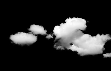 White clouds on a black background. Clouds. Isolated