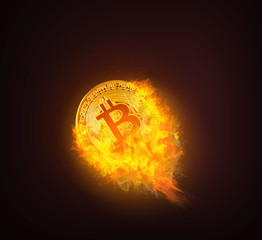Golden bitcoin coin up with smoke and fire. Bitcoin Gold and Cash lightning blockchain hard work concept on dark background