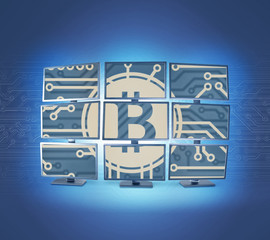 Miner man posing with lot of screens and bitcoin symbol on a background. Virtual cryptocurrency concept.