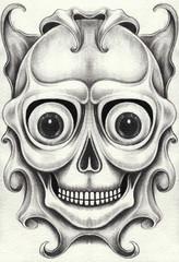 Art Surreal Skull Tattoo. Hand pencil drawing on paper.