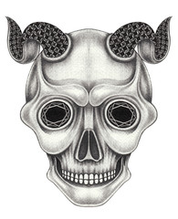 Art Devil Skull. Hand pencil drawing on paper.