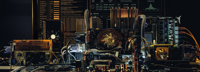Concept of computer circuit computer board for bitcoin mining. Devices and technology for mining cryptocurrency.  Wall mural