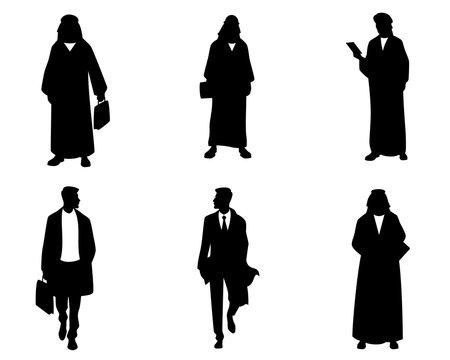 Silhouettes of arab businessmen