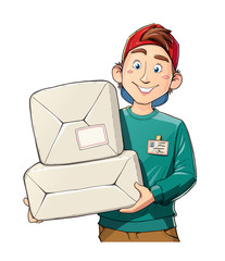 Man with package. Delivery service. Postman mail. Cartoon