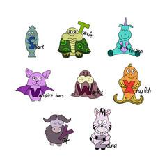 English alphabet. Children letters. Cartoon animals. Different