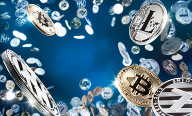Flying and falling bitcoins and litecoins with free space in the middle. Digital monitoring, checking and money exchange cryptocurrency concept. High resolution photo.