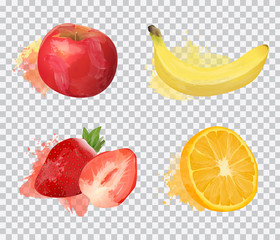 Set of delicious fruit vector illustrations in watercolor style isolated on transparent background