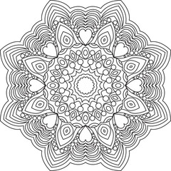 Outline mandala for adult coloring book. Mandala coloring page. Decorative round ornament. Background for meditation poster. Unusual flower shape oriental line vector. Islam, asian, tibetan motifs.