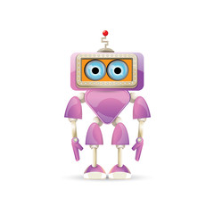 vector funny cartoon purple friendly robot character isolated on white background. Kids 3d robot toy. chat bot icon