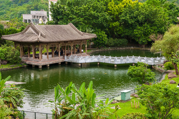 The West Bridge Pavilion In The Zhishan Garden, Taipei, Taiwan. Housed  Within The