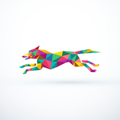 Abstract low poly running dog. Vector illustration