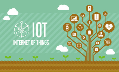 IoT ( internet of things ) image illustration (tree) / brown color .
