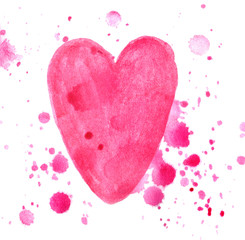 Pink heart splash isolated on white background in watercolor