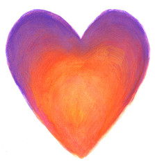 Purple-orange heart in gouache isolated on white background