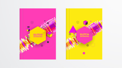 Covers with Abstract Glitch Graphics Design. Colorful backgrounds. Applicable for Banners, Placards, Posters, Flyers. Eps10 vector template.