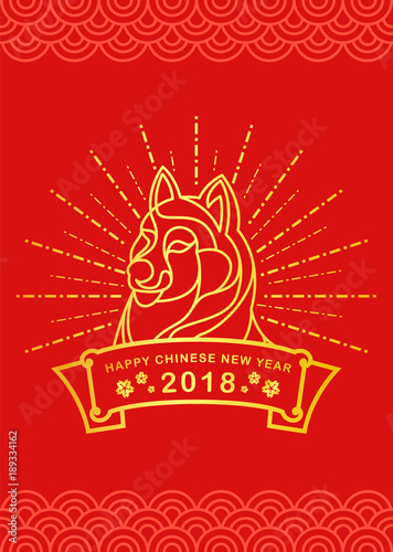 happy chinese new year with gold border line dog zodiac and dash line circle light on
