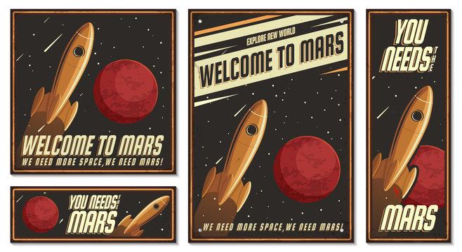 Astronaut Illustration. Retro poster.