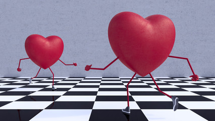 Couple Of Hearts run to each other 3d render 3d illustration