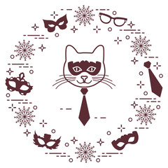 Muzzle of cat and carnival masks, snowflakes, glasses, tie. Carnival festive concept.