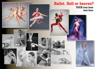 The conceptual collage about sorrows and joys of ballerina