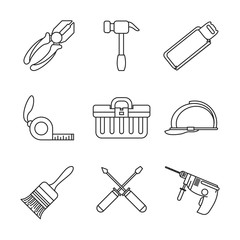 Construction tools icons icon vector illustration graphic design