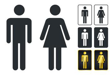 WC Sign for Restroom. Toilet Door Plate icons. Men and Women Vector Symbols