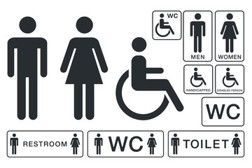 WC Sign for Restroom. Toilet Door Plate icons. Men and Women Vector Symbols