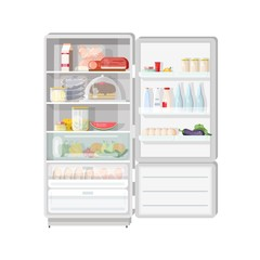 Modern opened refrigerator full of various food - fruits and vegetables, meat and dairy products, desserts, daily meals. Content of fridge with freezer. Colorful vector illustration in flat style.