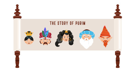 the story of Purim with traditional characters. Jewish acient scroll. banner template illustration