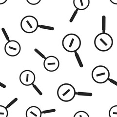 Loupe with minus sign seamless pattern background. Business flat vector illustration. Magnifier search sign symbol pattern.