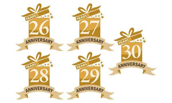 Year Gift Box Ribbon Anniversary Set