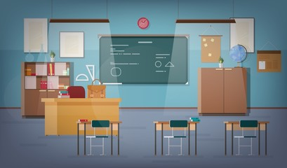 Empty school classroom with green chalkboard, pendant lights, various educational materials, desks, chairs and other furnishings for teacher and students. Colored vector illustration in flat style.